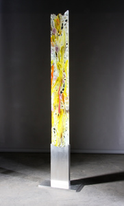 David Ruth Cast Glass Sculpture Jambe Glass, stainless steel