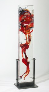 David Ruth Cast Glass Sculpture Raiatea Glass, stainless steel