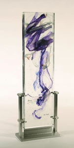 David Ruth Cast Glass Sculpture Tevaro Glass, stainless steel