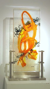 David Ruth Cast Glass Sculpture Gaji Glass, stainless steel