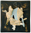 Archive 1975-92  acrylic and newspaper on carved found wood and masonite with wire