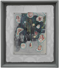 D. Dominick Lombardi - Fine Artist - Writer - Curator Saints, Sinners and the Collective Unconscious (2014-2017)  acrylic paint, acrylic medium, ink on paper, vintage magazine page, Plexiglas, screws, nails, salvaged sheetrock, latex primer, wallpaper paste, wallpaper, artist's frame, salvaged wood, nails, screws, plaster, joint compound, latex primer, latex paint