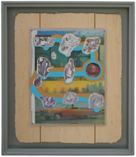 D. Dominick Lombardi - Fine Artist - Writer - Curator Saints, Sinners and the Collective Unconscious (2014-2017)  acrylic paint, acrylic medium, ink on paper, vintage magazine page, Plexiglas, screws, nails, salvaged sheetrock, wood wall panelling, artist's frame, salvaged wood, nails, screws, plaster, joint compound, latex primer, latex paint