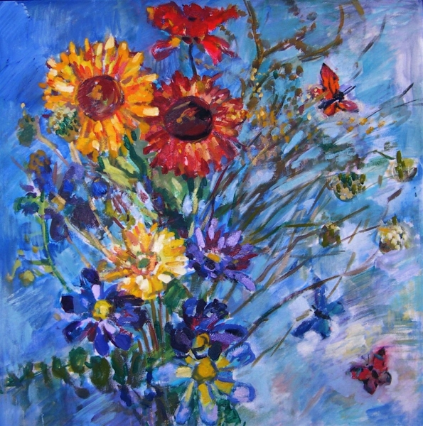 Deborah Sherman Flowers oil and acrylic