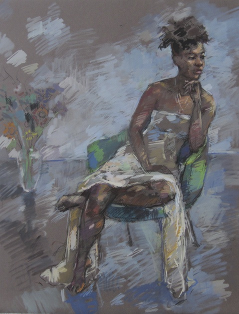 Deborah Sherman Portraits and Figures Gouache on grey board