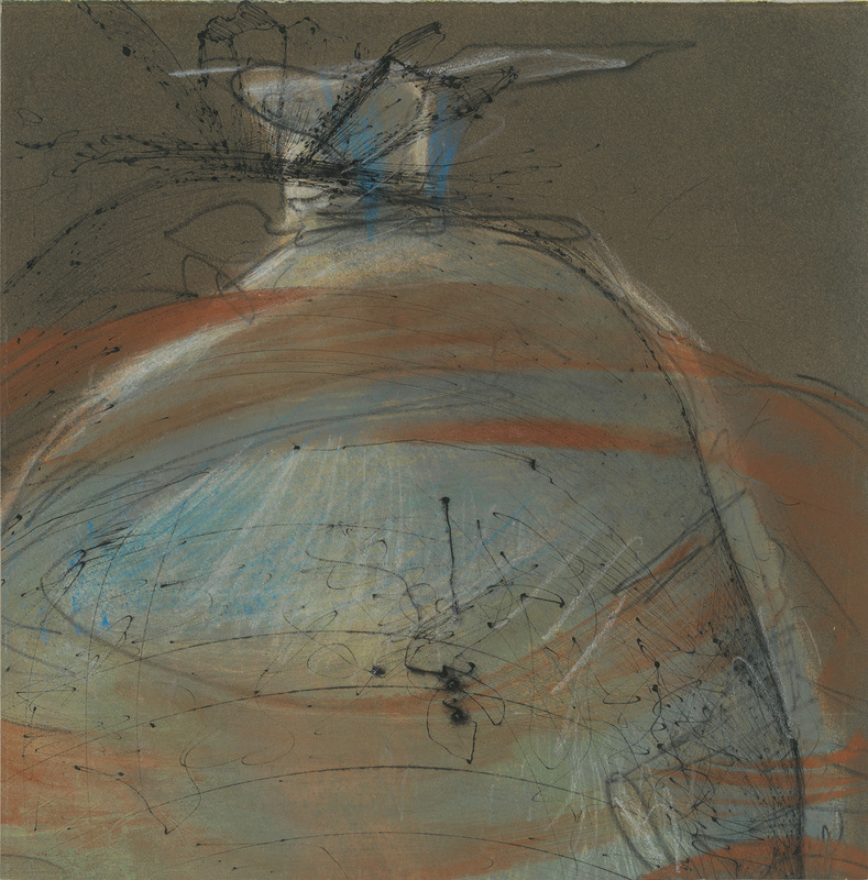 Debra Radke Pods / Pairs  Mono print with drypoint and pastel