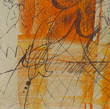 Debra Radke Botanicals Drypoint Technique on Monoprint on Gampi