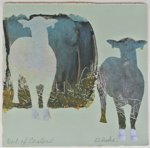 Debra Radke Sheep  Monotype collage on Somerset