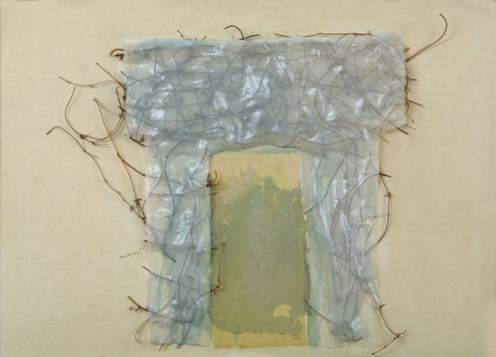 Debra Radke Thresholds Wood vines, silk & Lint on Canvas