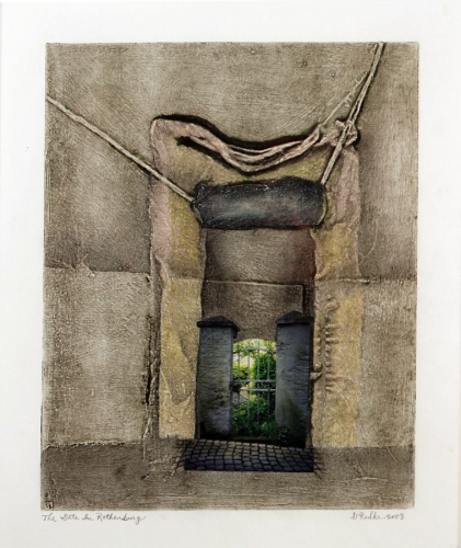 Debra Radke Thresholds Collograph and Photo on Silk