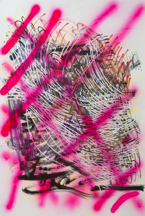 Works on Paper Pink Grid