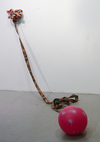 Elizabeth Foundation for the Arts Ceramics, fabric strap, plastic ball, spray paint