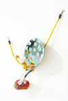 Elizabeth Foundation for the Arts Ceramic, fabric, pom pom, pipe cleaners, rubber cord, mirror and colored ink