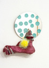 Elizabeth Foundation for the Arts Ceramic, glitter spray paint, pipe cleaners, pom pom, mirror and colored ink