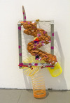 Part is No Object, Soho20 Gallery Metal grid, slinky, clay, pom pom, mirror, ink, pipe cleaner