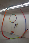 SVA times Found hula hoop, furniture, swimming pool noodles, spray paint and tape.