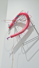 """DelanceyLudlowRivingtonNorfolk"" Shelf, swimming pool noodle, pipe cleaners, pompom, sand spray paint and tape."