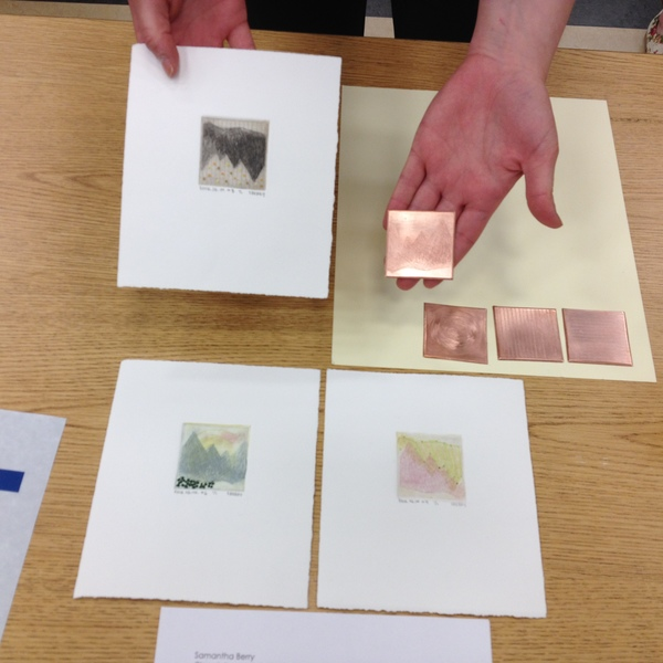 student projects Printmaking II: Sam Berry with her tiny etchings sewn with thread
