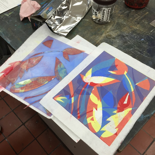 student projects Printmaking II: Layers of monotype printing with stencils