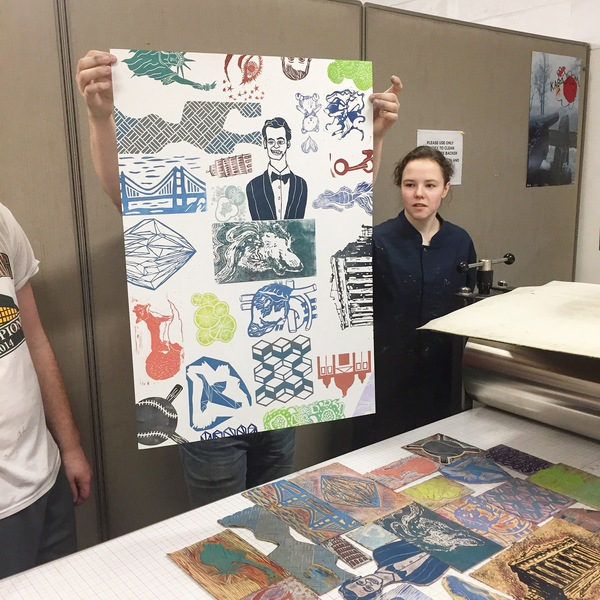 "student projects Printmaking I: ""Mix n' Match Monoprint"" blocks printed together"