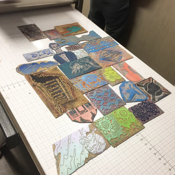 "student projects Printmaking I: ""Mix n' Match Monoprint"" blocks arranged together"