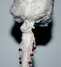 Diane Gabriel Sculpture Cottonwood tree seeds, thread,beads,cast iron