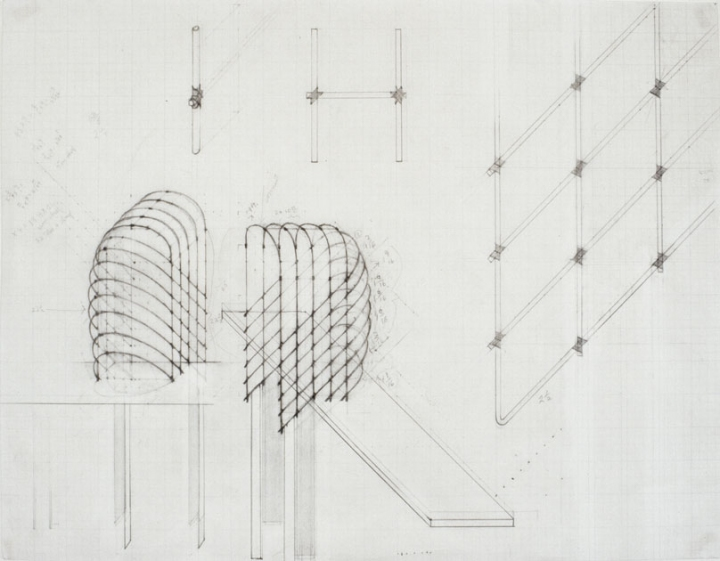 Diane Simpson Headgear (1990-1996) pencil on vellum graph paper