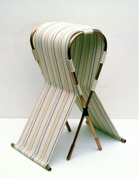 Diane Simpson Headgear (1990-1996) upholstery webbing, copper tube, waxed linen thread