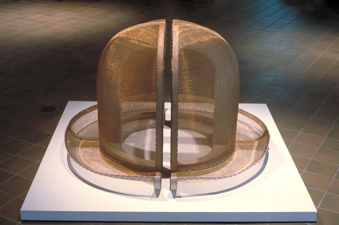 Diane Simpson Headgear (1990-1996) bronze mesh, stained MDF, rayon/silk cord