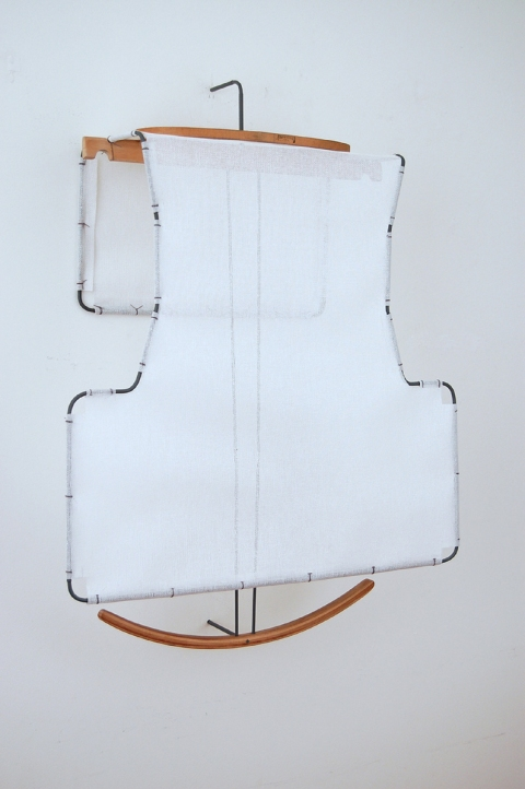 Diane Simpson Bibs, Vests, Collars, Tunic   (2006-2008) buckram, painted aluminum, steamer trunk hanger, embroidery hoop