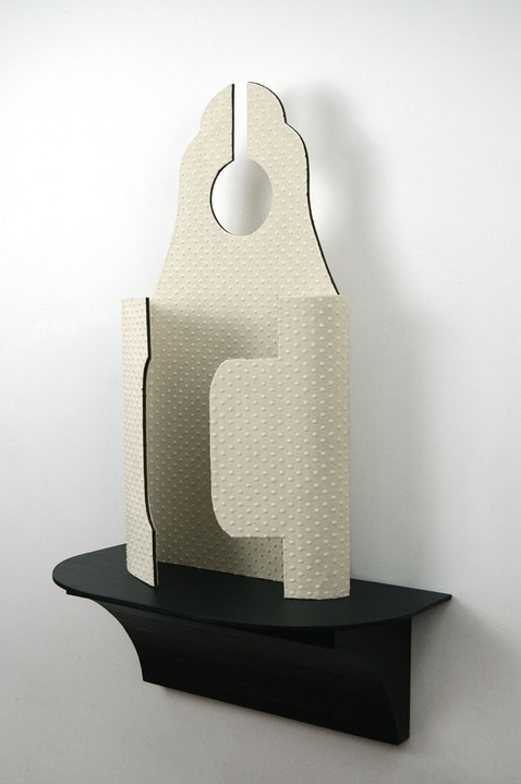 Diane Simpson Bibs, Vests, Collars, Tunic   (2006-2008) fabric, industrial fiber over aluminum, stained MDF