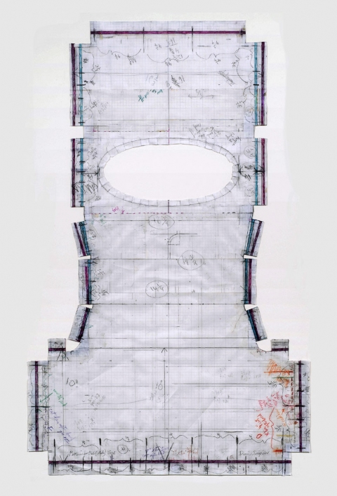 Diane Simpson Bibs, Vests, Collars, Tunic   (2006-2008) pencil and colored pencil on vellum graph paper