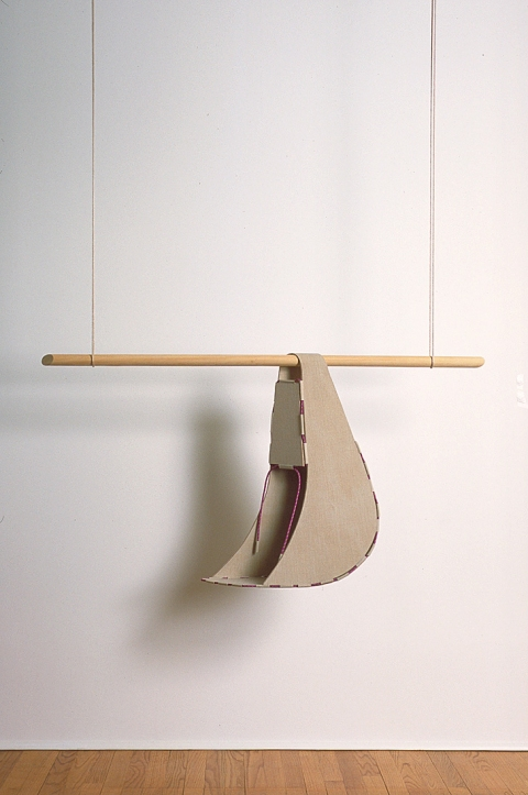 Diane Simpson Sleeves    (1996-2000) linen on wood, nylon cord, pine