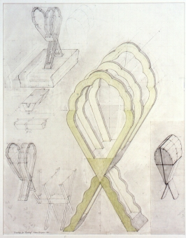 Diane Simpson Headgear (1990-1996) pencil, colored pencil on vellum graph paper
