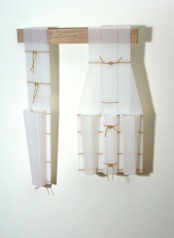 Diane Simpson Bibs, Vests, Collars, Tunic   (2006-2008) birch plywood, corrugated plastic, electrical cord
