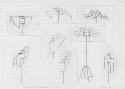 Diane Simpson Corbett vs Dempsey, Chicago, <i>Diane Simpson</i>, 2012 graphite on vellum graph paper with collage