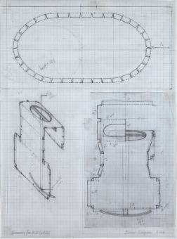 Diane Simpson Bibs, Vests, Collars, Tunic   (2006-2008) pencil on vellum graph paper