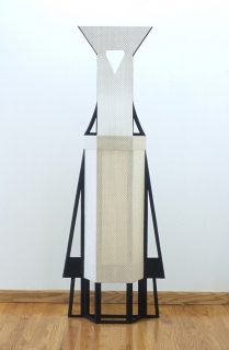 Diane Simpson Aprons        (2000-2005) stained MDF, industrial fiber, polyester fabric
