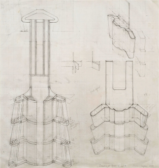 Diane Simpson Aprons        (2000-2005) pencil on vellum graph paper