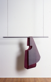 Diane Simpson Sleeves    (1996-2000) aluminum, wool, acrylic on pine