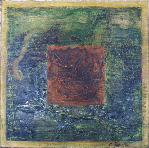 BELFAST BAY SHADE COMPANY designer/maker: Dina Petrillo Abstract encaustic collagraph on panel