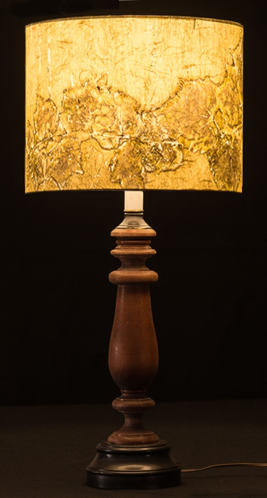 Table &  Floor Lamps Botanical collagraph hand-printed on archival paper and fused to styrene on steel shade rings