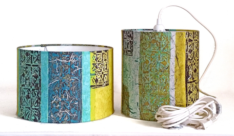 BELFAST BAY SHADE COMPANY designer/maker: Dina Petrillo Carnival: Bold Block Prints 15 ft cord set, white