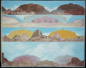 Donna Moran Large Painting/Collage Work 1980's Paint, etching, various materials on canvas