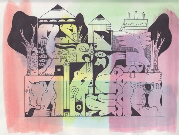Domingo Carrasco Works on Paper Marker and Pen on Paper