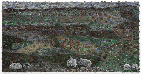 Dominick Anthony Takis Image Gallery 1. SYMBIOSIS :    Sicilian, Irish and Other Travel Interpretations with Lichen    tempera, acrylic, lichen, mixed media in silicone caulking on canvas