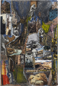 Dominick Anthony Takis Image Gallery 2.             MRI Collages: 2001 - 2004 Acrylic, Oil, Cut out Media, Organic matter on and behind MRI Film