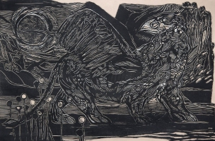 Donald Axleroad <i>Gods, Men, Beauties & Beasts</i> woodcut
