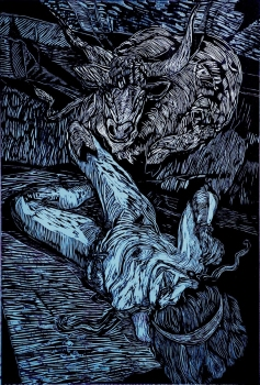 Donald Axleroad <i>The Minotaur Story</i> woodcut