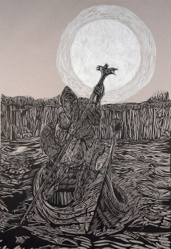 Donald Axleroad <i>Fear of Fate</i> woodcut
